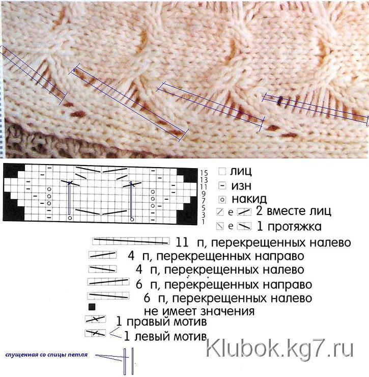 Много ажурных узоров спицами