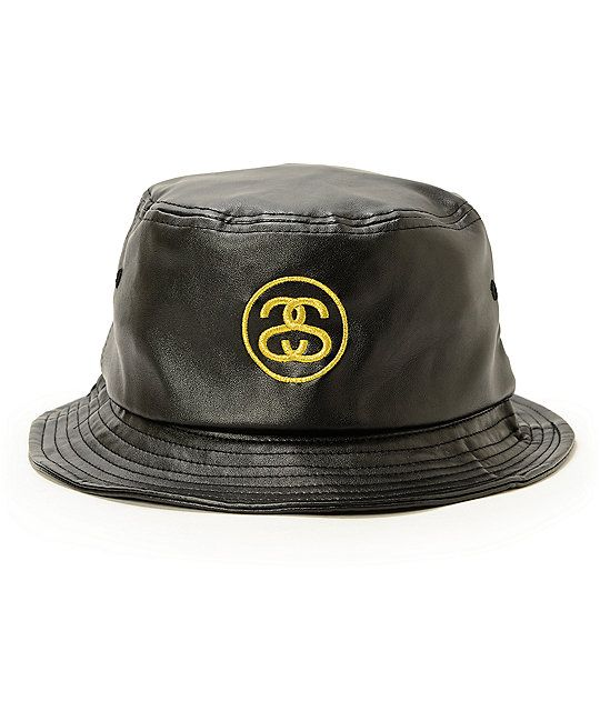 Stussy SS Link Leather Bucket Hat  7e9bd531a18
