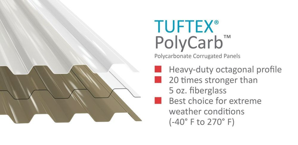 Tuftex Polycarb 2 17 Ft X 8 Ft Corrugated Clear Polycarbonate Plastic Roof Panel Lowes Com Plastic Roofing Roof Panels Fiberglass Roof Panels