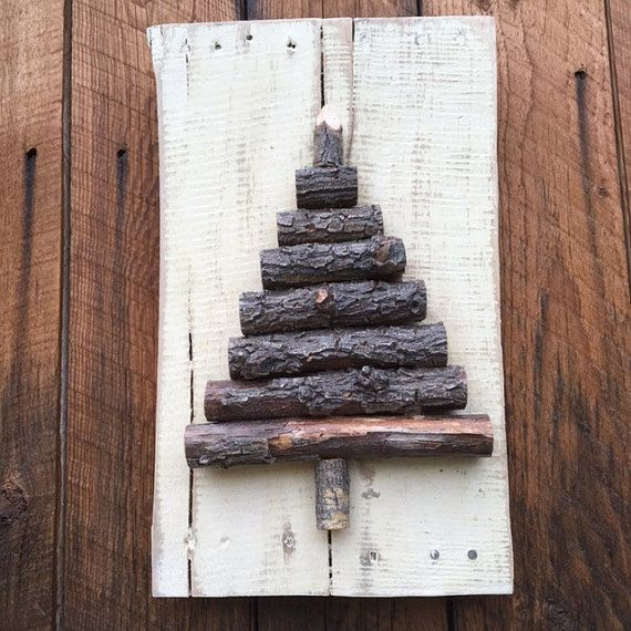 Rustic Wood Christmas Tree Branch Sign, Christmas Sign, Wood Christmas Tree, Pallet Wood Tree, Reclaimed Wood Tree Sign, Tree Branch Sign