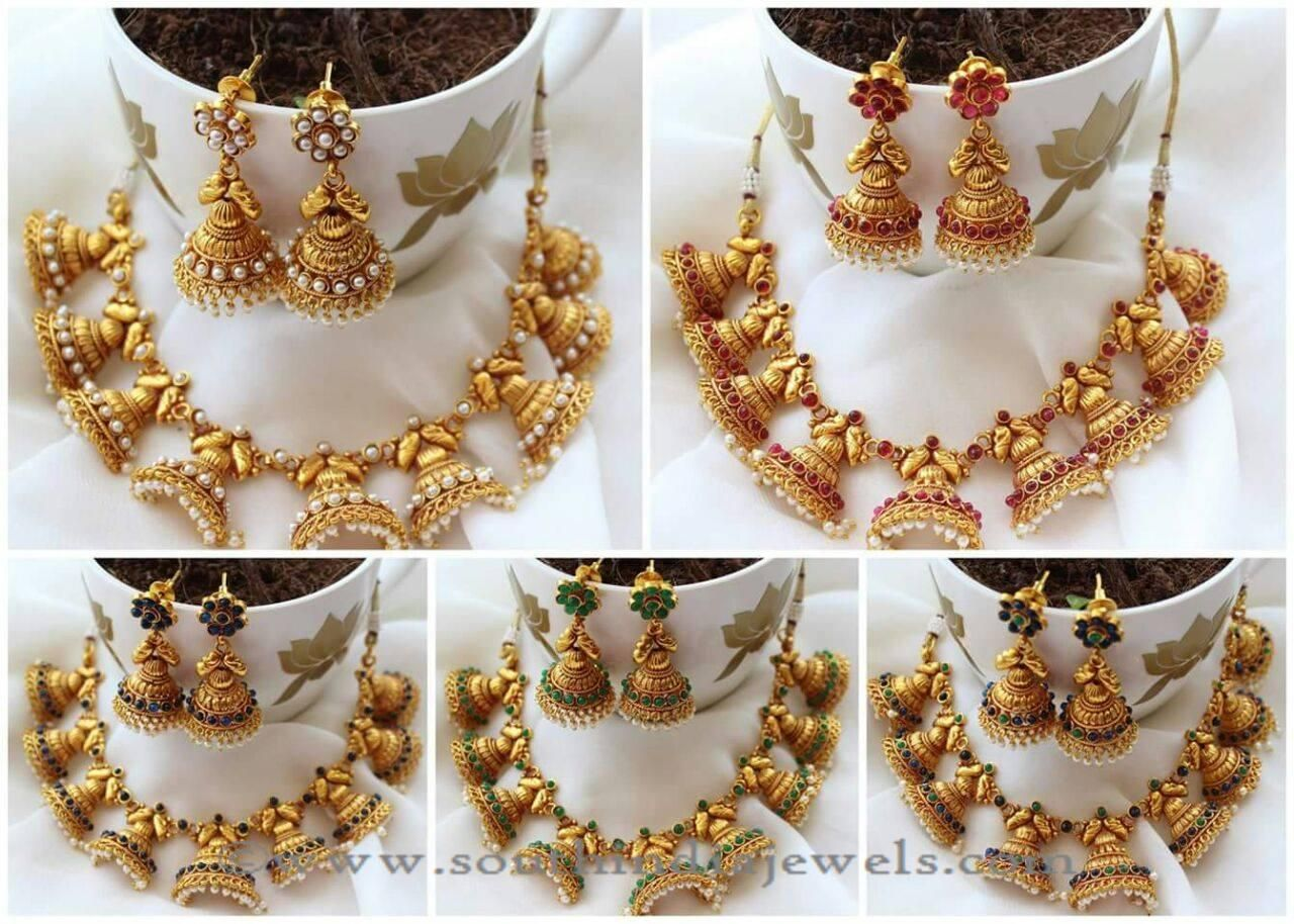 One Gram Gold Necklace Sets with Jhumkas   Gold choker necklace ...