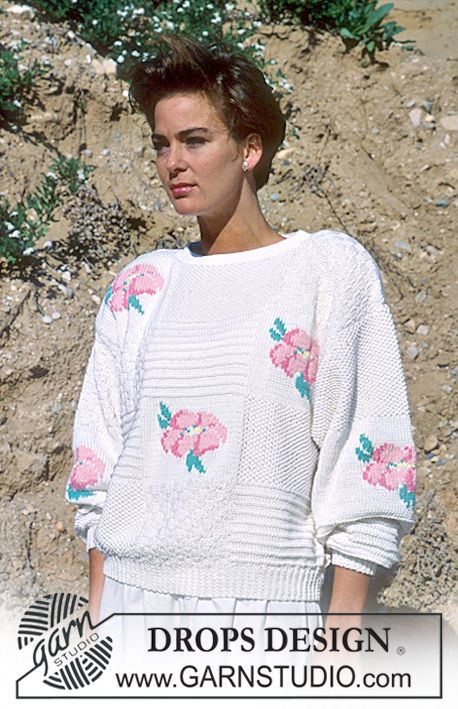 """DROPS 18-4 - DROPS jumper with embroidered roses in """"Muskat"""". - Free ..."""