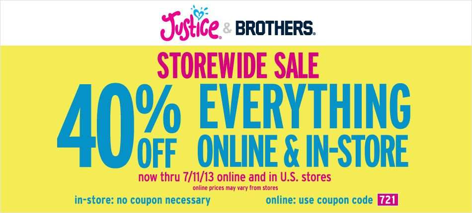 Pinned July 8th 40 Off Everything At Justice Or Online Via Promo Code 721 Coupon Via The Coupons App Coupon Apps Justice Coupons Coupons