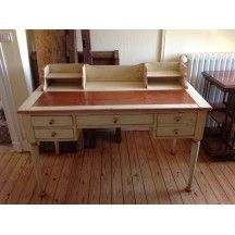 Bureau ancien en bois massif blanc et marron vintage bureau