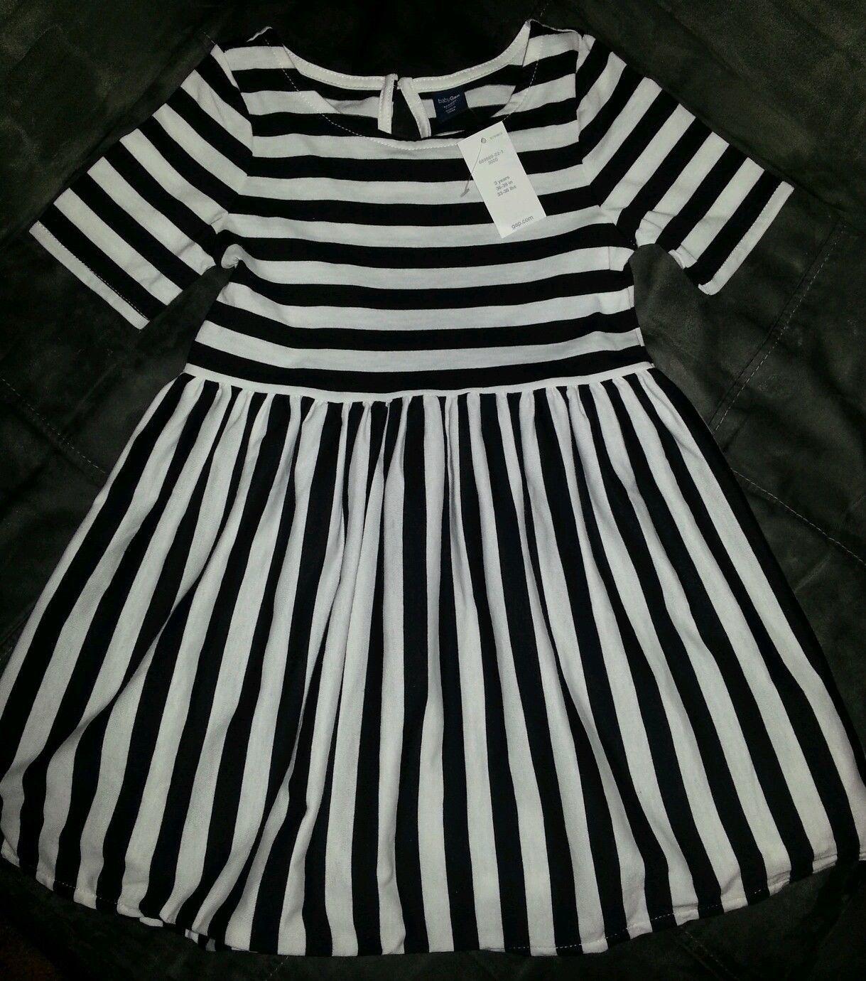 54202d7f997b Baby Gap Toddler Girls Printed Black White Striped Swing Dress ...
