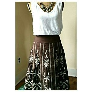I just discovered this while shopping on Poshmark: Boho Brown Embroidered Skirt. Check it out!  Size: 4 $15