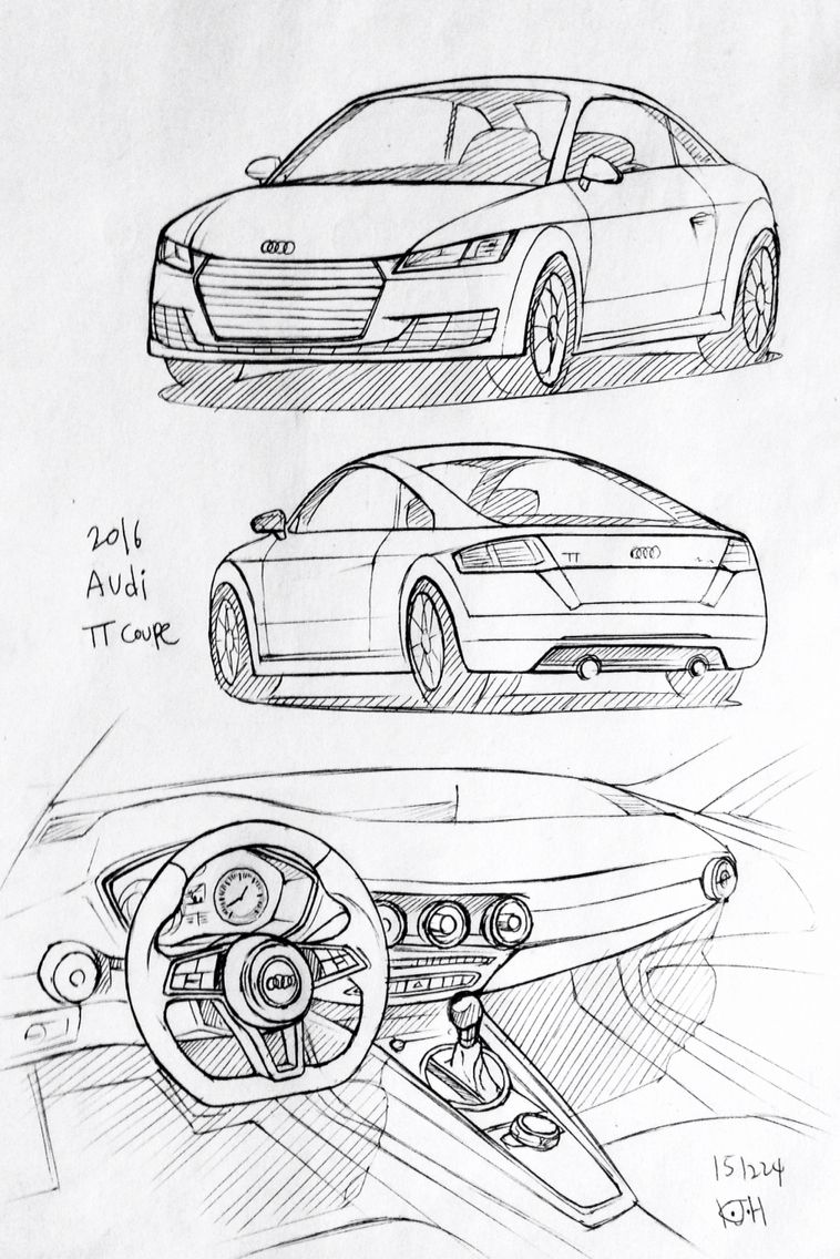 Car drawing 151224. 2016 Audi TT. Prisma on paper. Kim.J.H