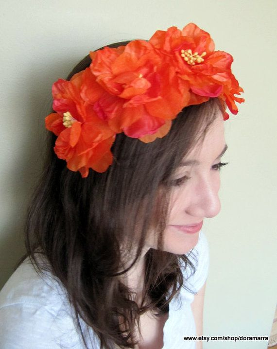Flower crown. Festival wear. Coachella.  Orange by doramarra