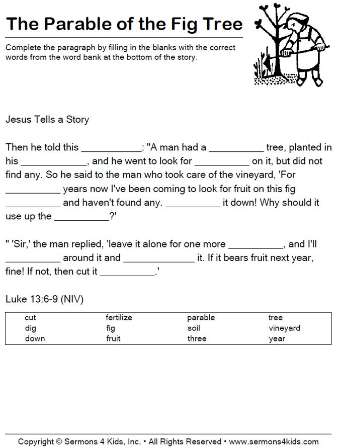 Parable Of The Fig Tree Fill In The Blank Kids Sunday School