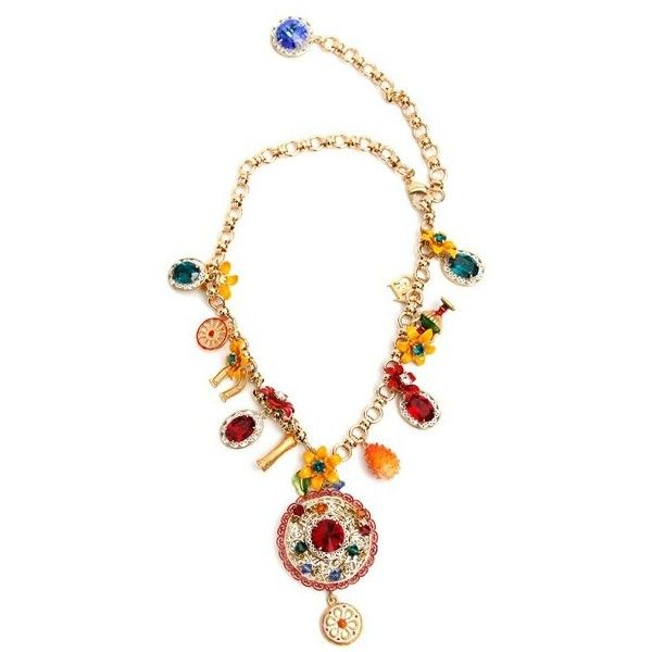 Dolce and Gabbana 'Carretto' Charms Brass Necklace (€1.430) ❤ liked on Polyvore featuring jewelry, necklaces, multicolor, multi color necklace, lobster claw charms, brass pendant, lobster claw clasp charms and gold tone necklace