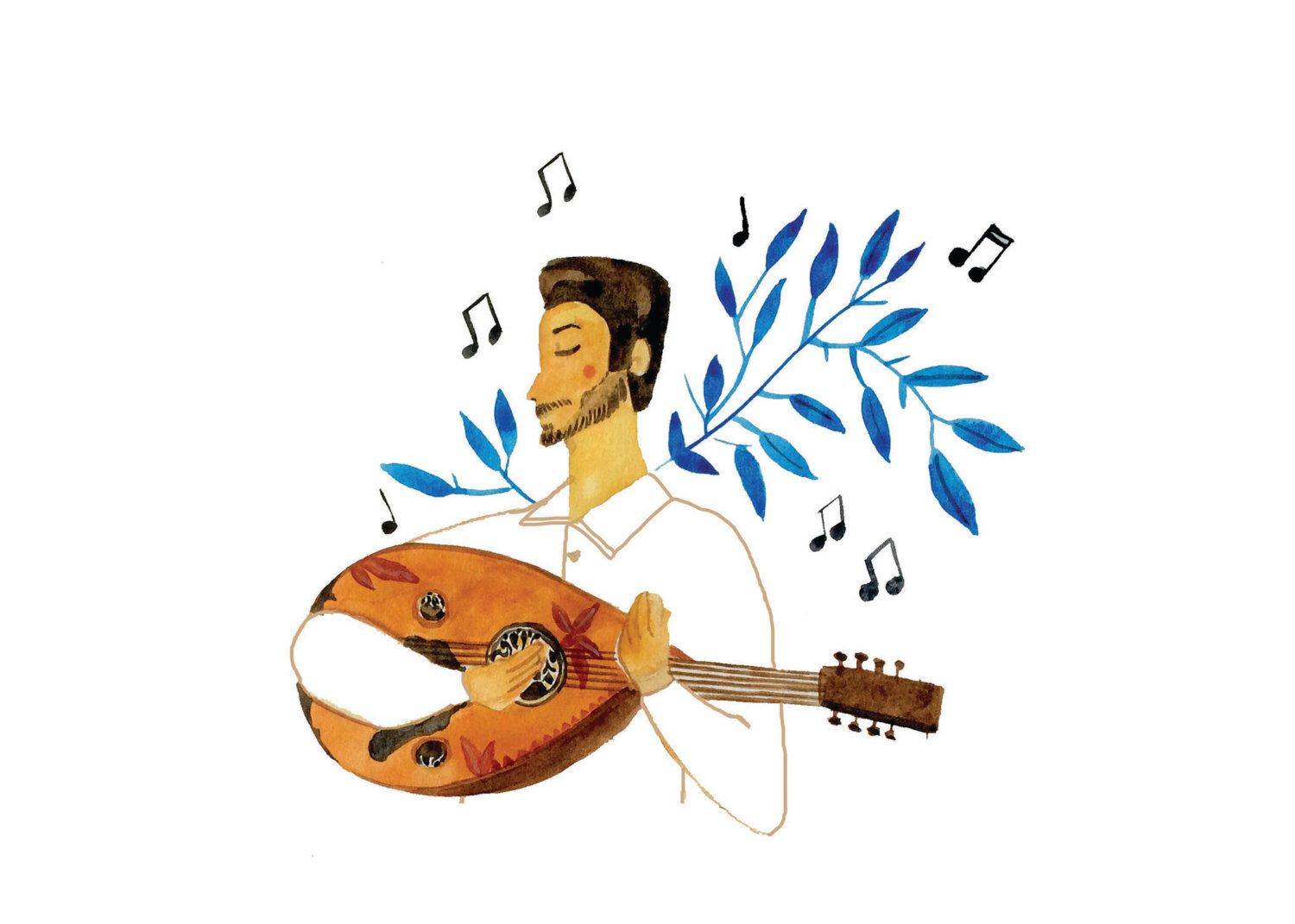 Playing The Oud Greeting Card Watercolor Paintings And Illustrations