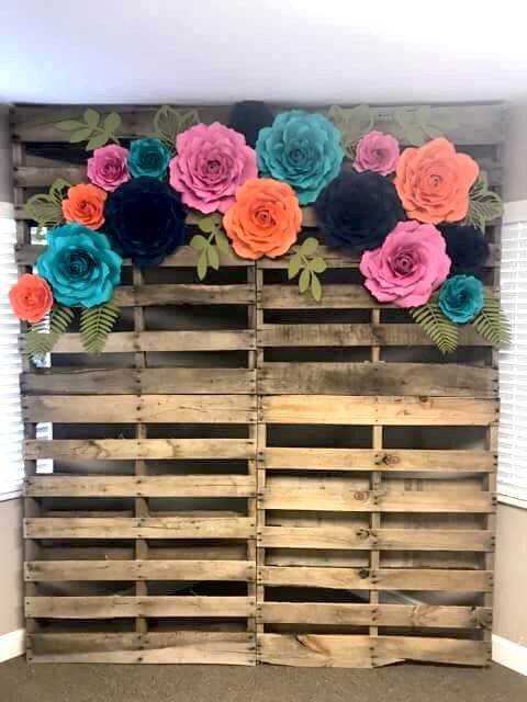 Graduation Party event backdrop. Paper flowers paper roses @thesnowscottage Etsy.com/shop/thesnowscottage #graduationparties