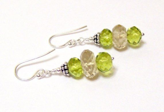 Limon Yellow and Green Quartz Rondelle Sterling by OklahomaMama, $15.99