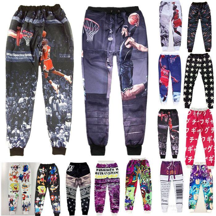0f29990fd338da Mens Joggers 3D Basketball Star Printed Jogging Homme Actavis Baggy  Sweatpants Men Jogger Pants Sports Men Emoji Joggers