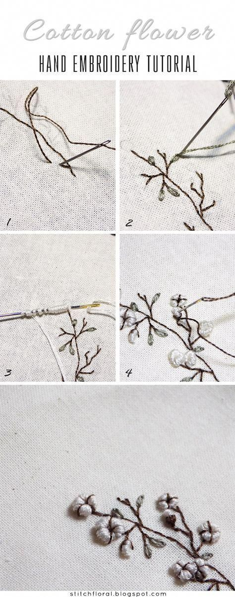 Cotton flower hand embroidery: freebie and tutorial ...