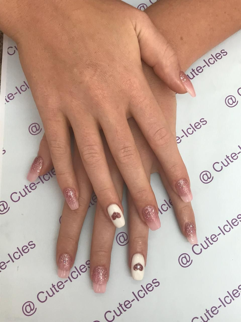 Rose Gold Heart Mould Glitter Acrylic Nails