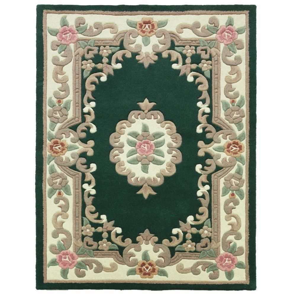 Thick Bottle Green Chinese Aubusson Wool Rug In Various Sizes Shapes And Runner Victorian Rugs Rugs Wool Rug