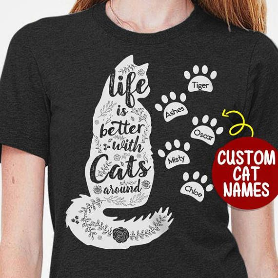 8bde7416 Personalized Cat Lover Gift With Cats Name, Cat Mom T-shirt, Cat Lover Shirt,  Cat Lady Gift Ideas, Customizable Shirt, Cat Dad Shirt