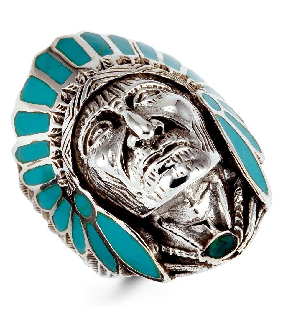 Teal Enamel 925 Silver Native American Indian Head Ring Mens