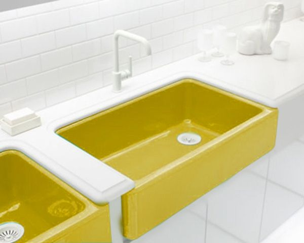 Farmhouse sink in yellow. Yep. I think I want this. KOHLER Colors ...