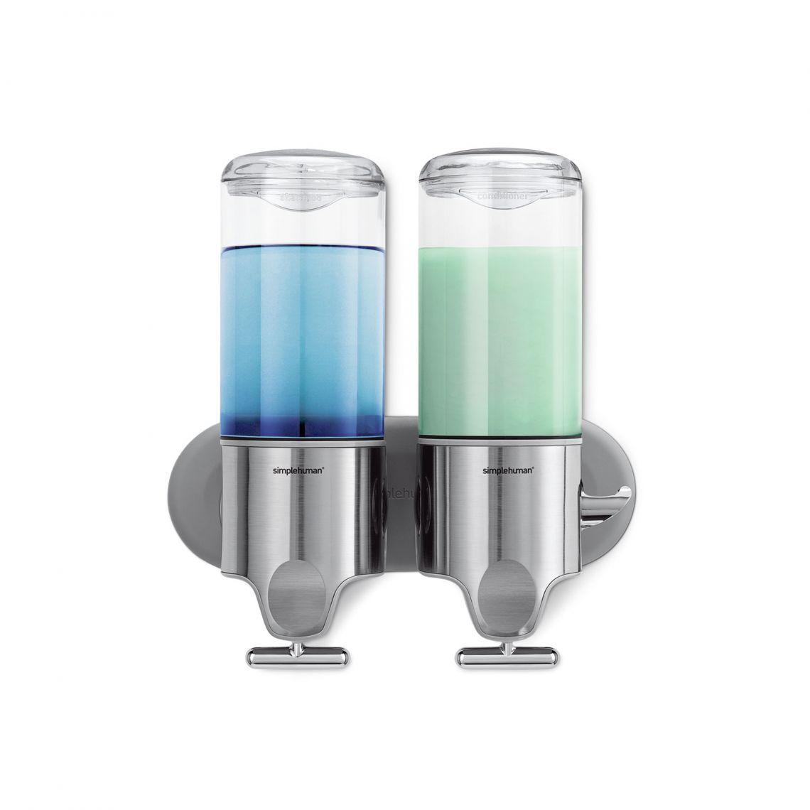 Single Double Tube Soap Shower Gel Shampoo Bathroom Pump Dispenser Wall Mounted