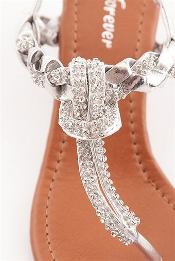 07da544a7e8 Glimmer of Glamour Jeweled and Woven Wedge Thong Sandals - Silver from  Forever at Lucky 21