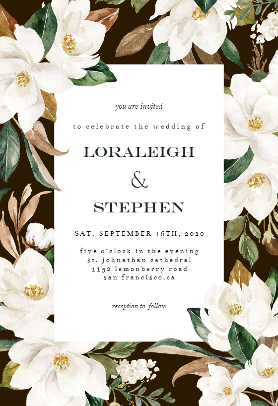 Magnolia Wedding Invitation Template Free Greetings Island Magnolia Wedding Invitations Online Wedding Invitations Templates Wedding Invitations Printable Templates