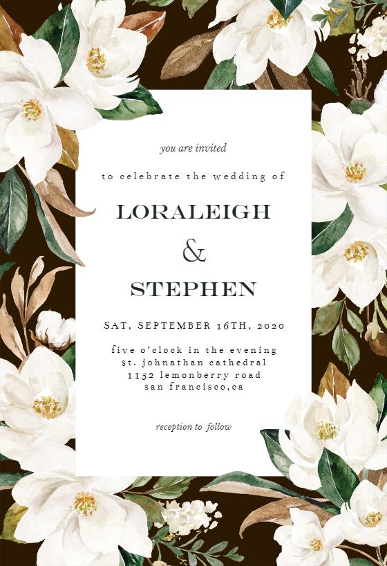 Magnolia Wedding Invitation Template Free Greetings Island Magnolia Wedding Invitations Wedding Invitation Templates Digital Wedding Invitations Design