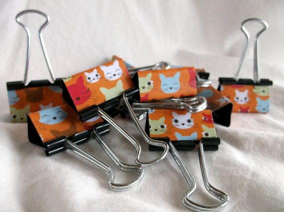 Binder Clips  Cat Blinks 12 medium binder by AnnMarieLarsonCRAFTS