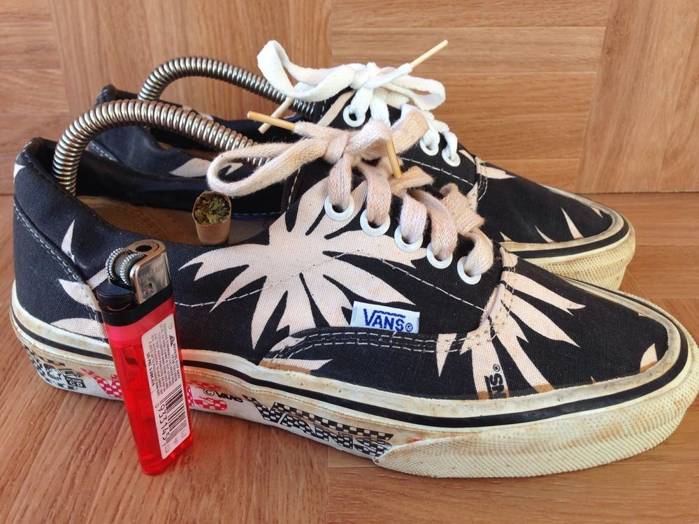 23abb9a5b4 80 s Weed Leaf VANS Laceup Vintage Canvas Skate Made In USA 6.5 NOSS VAN  DOREN in