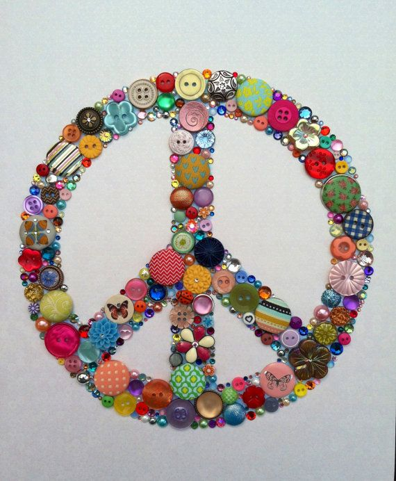 Peace Sign Wall Art peace sign buttons & swarovski rhinestones wallbellepapiers