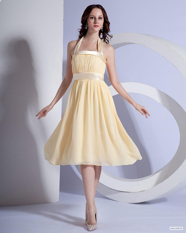 Beach wedding dresses chiffon halter knee length bridesmaid dress