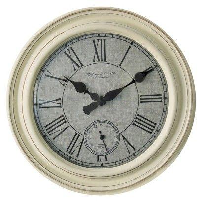 Threshold™ Distressed Wall Clock - White