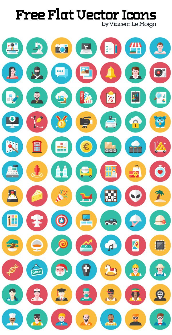 Free Flat Vector Icon Set (120 Icons) Не имеющий вектора