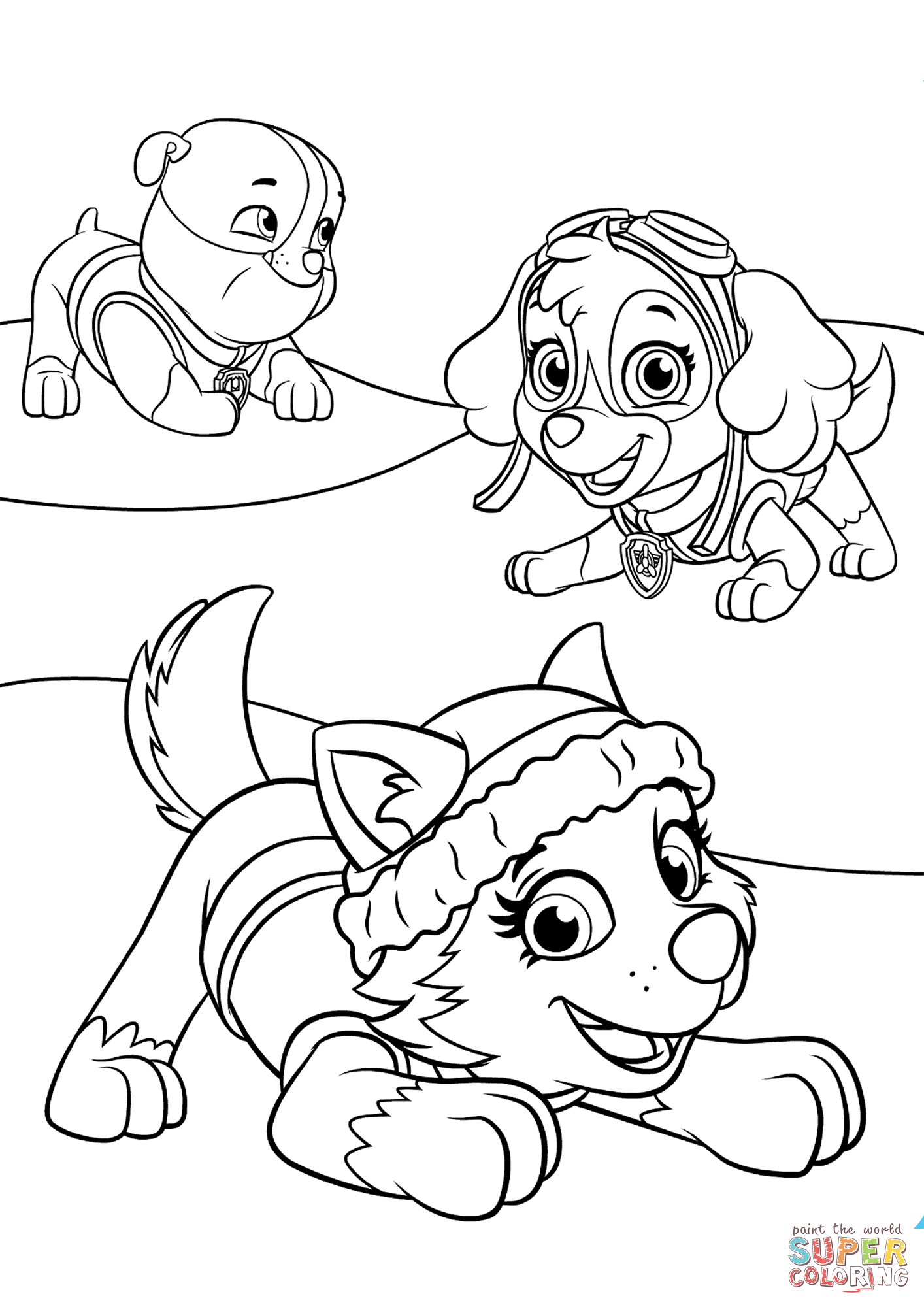 Everest Plays with Skye and Rubble coloring page | Free ...