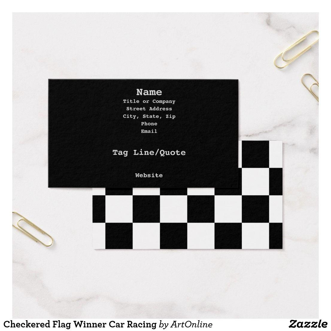 Checkered Flag Winner Car Racing Business Card #affiliate