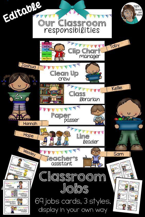 Classroom Jobs Crisp White EDITABLE Clip Chart or Wall Display Classroom Jobs Crisp White EDITABLE Clip Chart or Wall Display