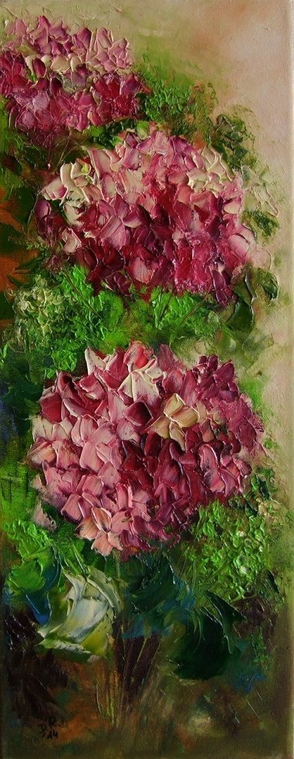 Pink Purple Hydrangea Hortensia Original Oil Painting Textured Europe Artist | eBay