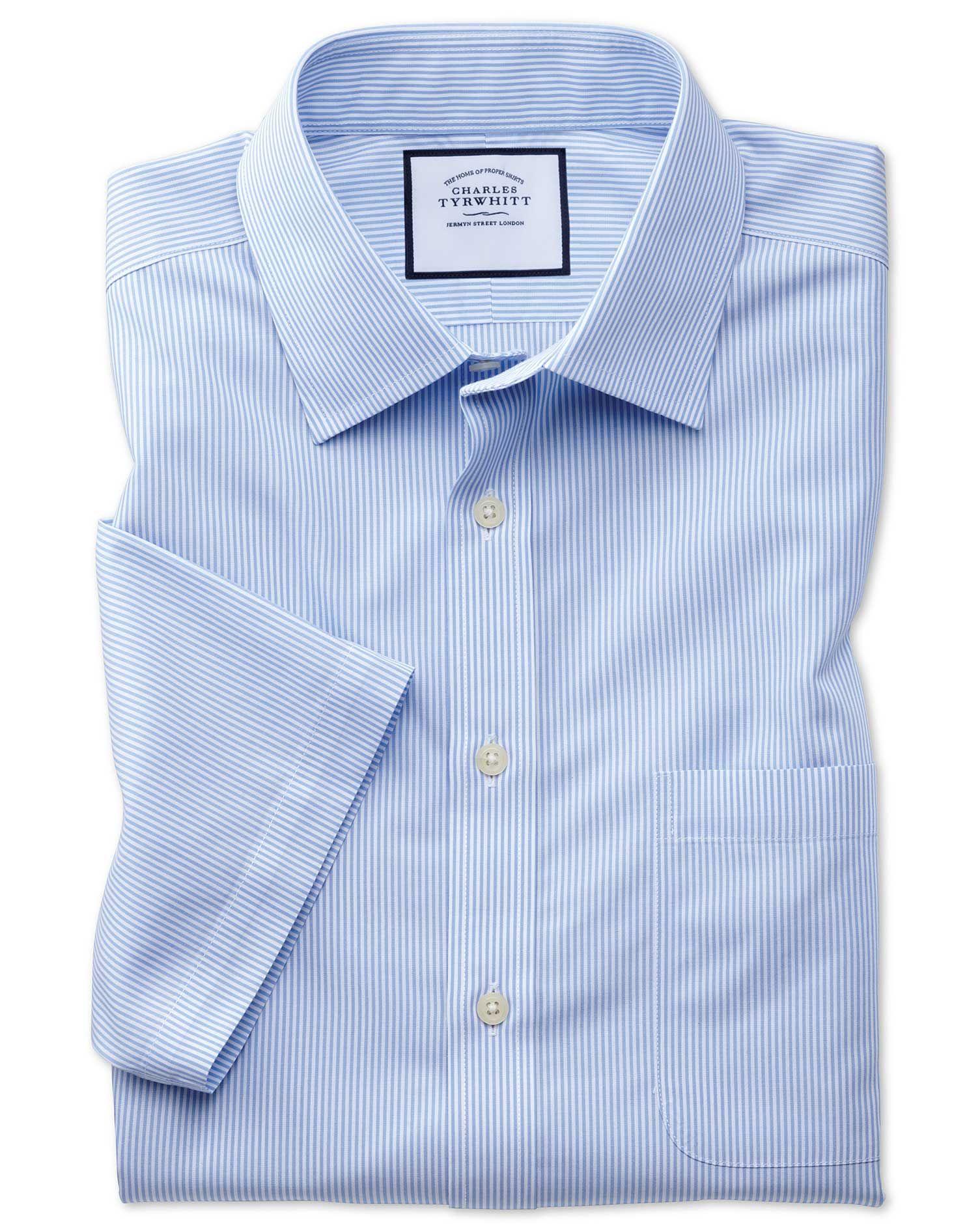 Slim Fit Non-Iron Sky Blue Bengal Stripe Short Sleeve Cotton Dress Shirt Size 15/Short by Charles Tyrwhitt #shortsleevedressshirts
