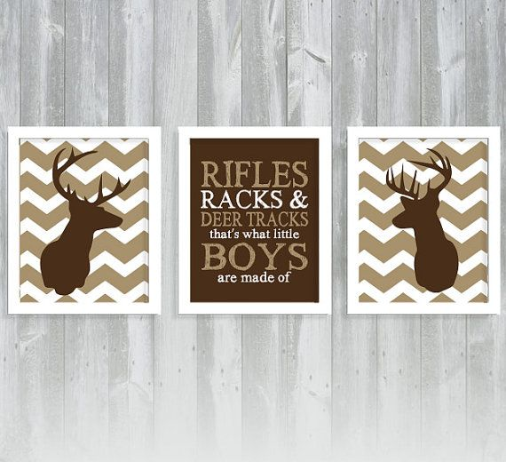 Chevron Deer Print Set - Deer Nursery - Hunting Nursery - Antler Print - Set of Three 8x10 Printset on Etsy, $33.00