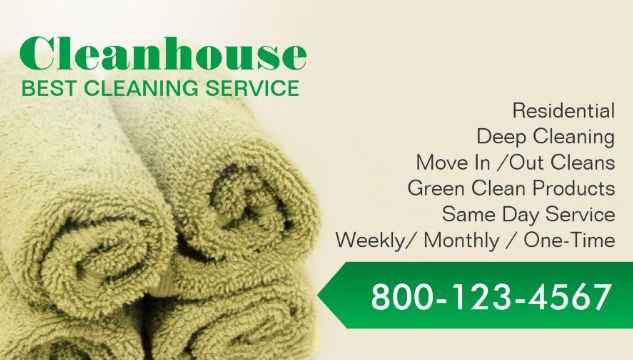Professional House Cleaning Services Fresh Green Towels Business ...