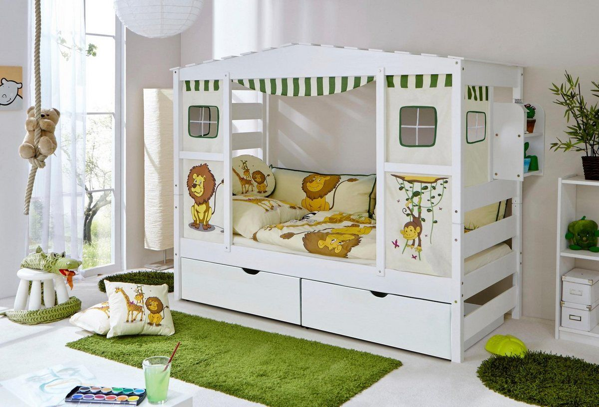 Kinderbett In Hausoptik Lio Aus Massiver Kiefer Mit Schubkasten