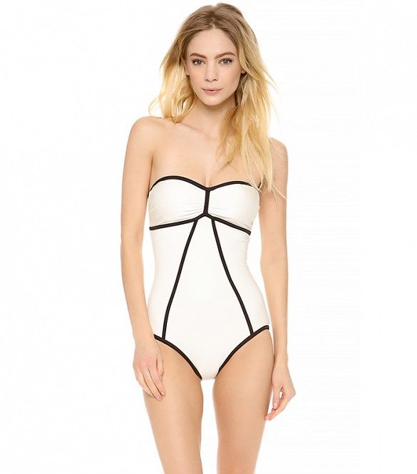 a163b2d5ff An adorable take on the retro one-piece // Marc By Marc Jacobs Le Shine  Bandeau Maillot ($164). The 11 Best White Swimsuits To Shop This Season ...
