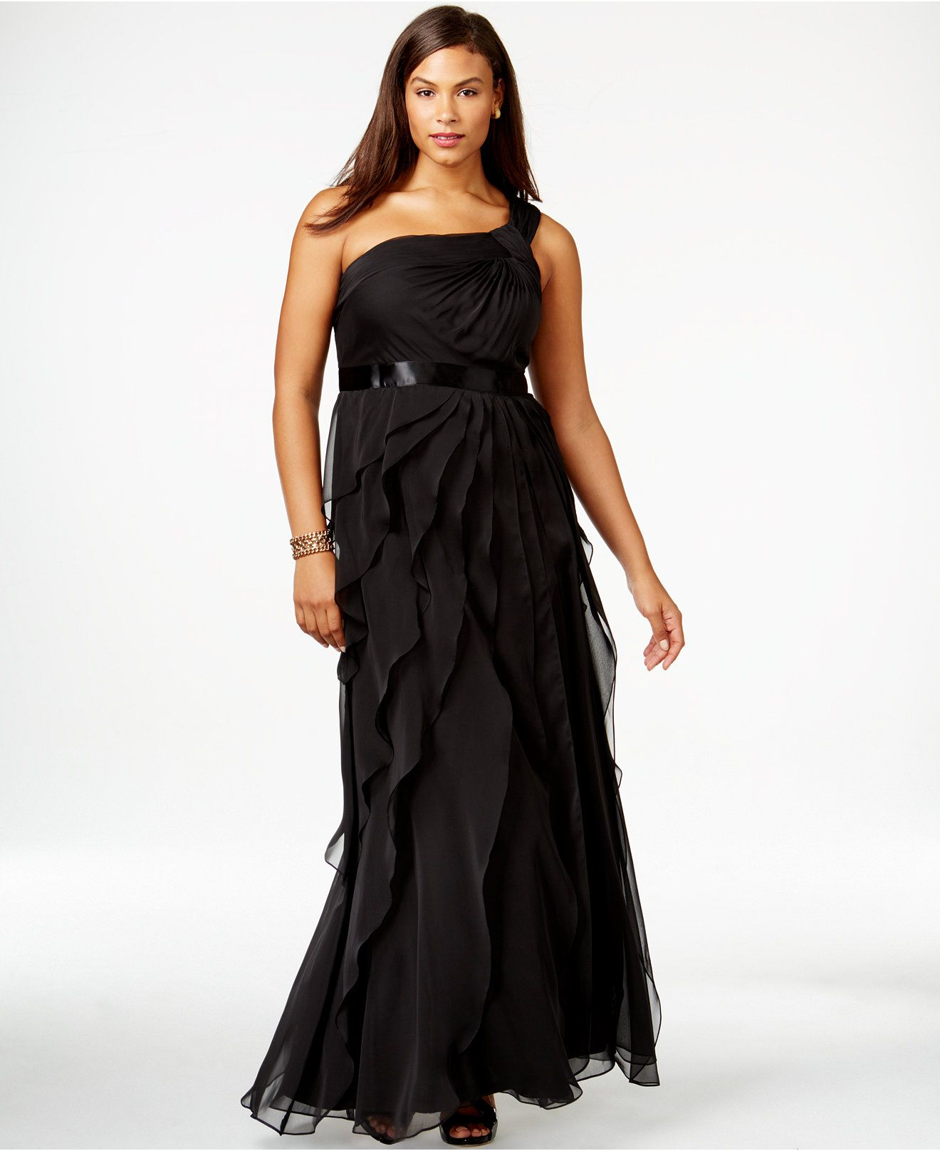 Adrianna Papell Plus Size One Shoulder Tiered Chiffon Gown Dresses
