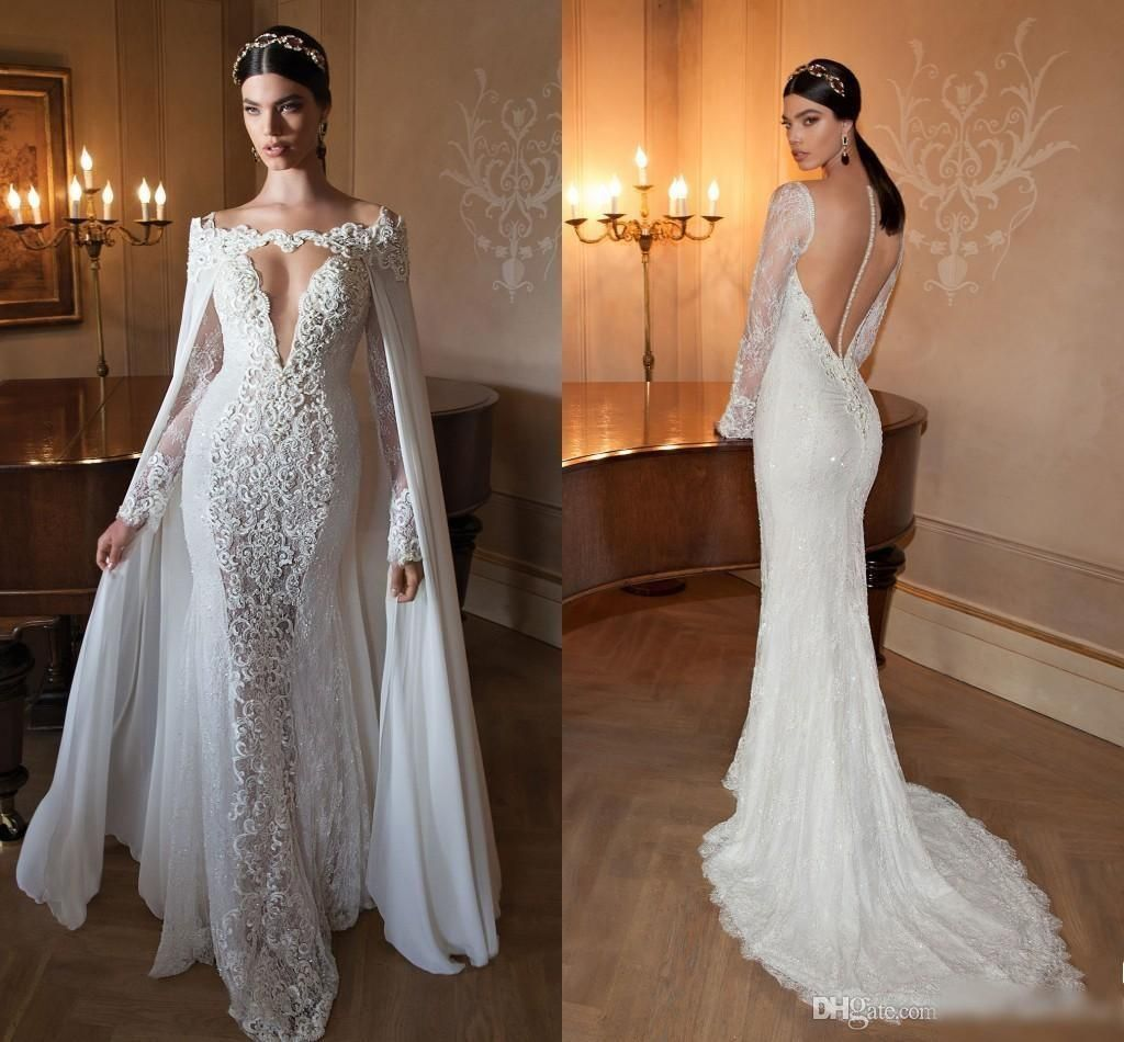 white Ivory Long-Sleeve Corset-Back wedding Dress Bridal Gown Size 4 6 8 10 12++