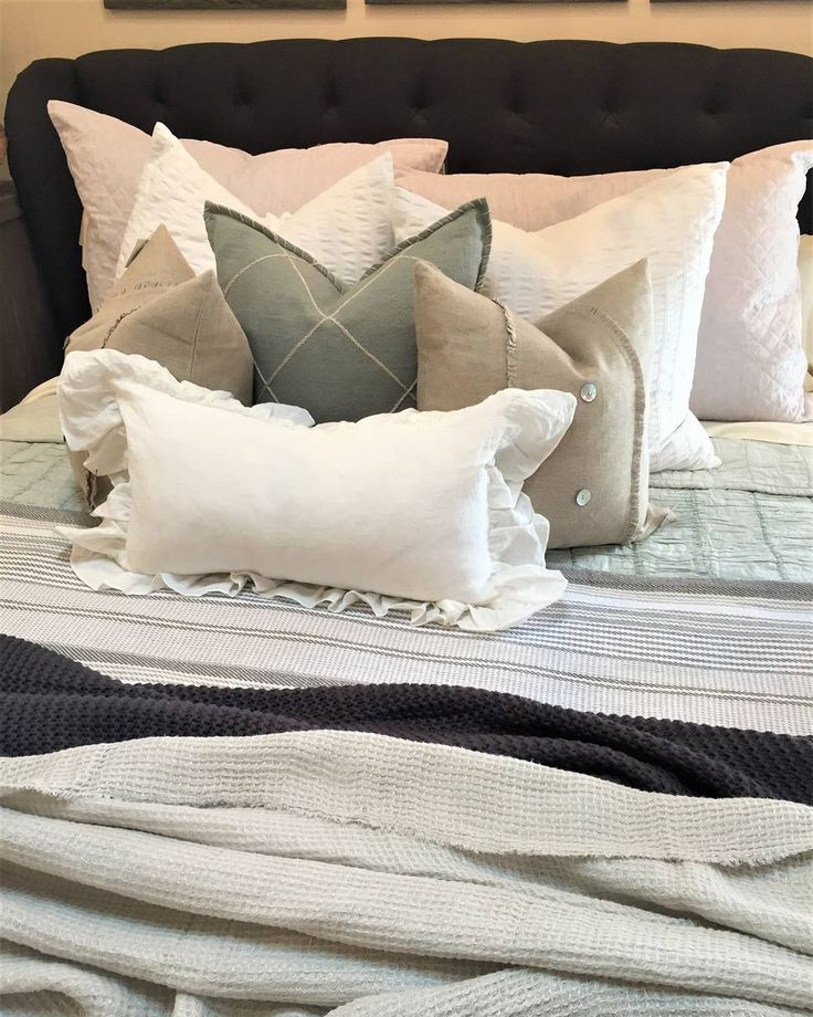 Neutral Bedding | Layers | Throw Pillows| Grey and White Bedding ...