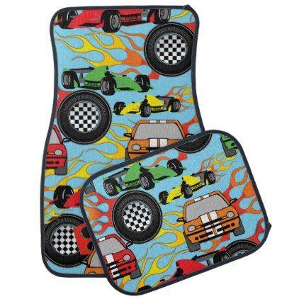Fun race car sports pattern car mat set - pattern sample design template diy cyo customize