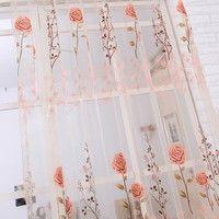 Chic Voile Fenster Vorhang Sheer Panel Tür Balkon Vorhang Perlen Quaste Volant #balconycurtains