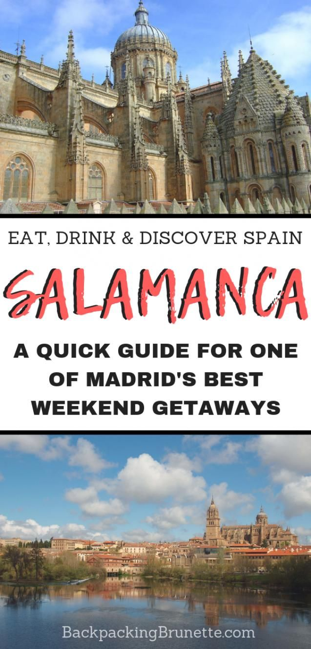 Making your Spain travel itinerary? Don't miss one of the best places to visit in Spain: Salamanca! Beautiful and fun this university town is one of the best weekend trips from Madrid. Read on for Europe travel tips and the best things to do in Salamanca Spain! #spain #spaintravel #europe #europetravel #europetraveltips #traveldestinations #travel #traveltips #traveltipsforeveryone #traveltipsforwomen #europedestinations #backpacking #europe #destinations