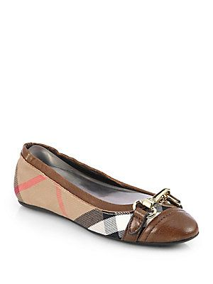 1640d715d9d6d8 Burberry Shipley Check Ballet Flats  350 Size 7 Color Darktan ...